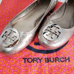 Tory Burch Metallic Gold Leather Reva Flats, sz 8